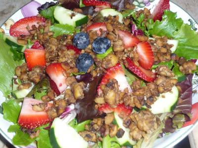 Berry Cucumber Tempeh Salad
